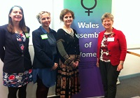 L to R:  The three award winners, Hannah Littlecott, Sarah Wydall and Melanie Morgan, with Welsh Government Finance Minister Jane Hutt