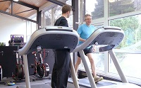 Professor John Grattan training for the IronMan challenge with Richard Martin, Gym Instructor and Personal Trainer at the University's Sports Centre.