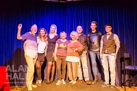The Aberration team. From left: Helen Sandler Organiser, Ruth Fowler Organiser, Kedma Macias singer, Lisa Smith Musician, Jane Hoy Organiser, Mike Parker performer, Tom Marshman performer, Leonie Campbell Performer