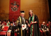 Aberystwyth University Treasurer Dr Timothy Brain OBE with Dr Catherine Bishop