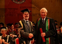 Pro-Chancellor of Aberystwyth University Dr Glyn Rowlands with Professor Ken Walters.