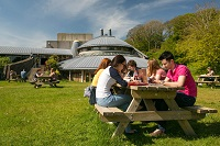 Students on the Penglais campus of Aberystwyth University
