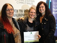 Aberystwyth University staff with the Highly Commended award at the Sustain Wales Awards.  L to R: Mary Jacob from the E-Learning Team, Dr Paula Hughes, and Professor Jo Hamilton from the Instititute of Biological, Environmental and Rural Sciences