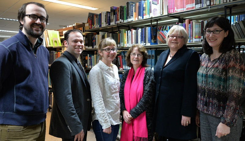 Six of the nine Aberystwyth academics elected to the AHRC Peer Review College. (L-R) Dr Hywel Griffiths, Professor Peter Merriman, Dr Elin Royles, Professor Wini Davies, Dr Andrea Hammel, Dr Cathryn Charnell-White.