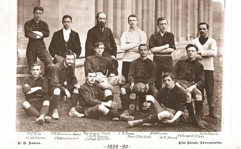 Photograph of the Aberystwyth University football team 1894-1895. Leigh Roose is third from the right, standing in the back row.