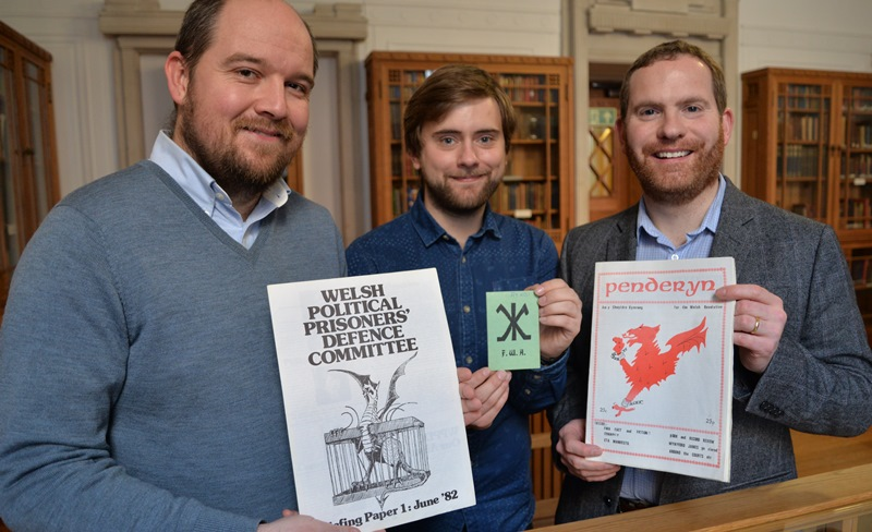 Left to right: Dr Rhys Dafydd Jones, Aberystwyth University; Rhodri Evans, Aberystwyth University postgraduate student and Rob Phillips from the Welsh Political Archive at the National Library of Wales.