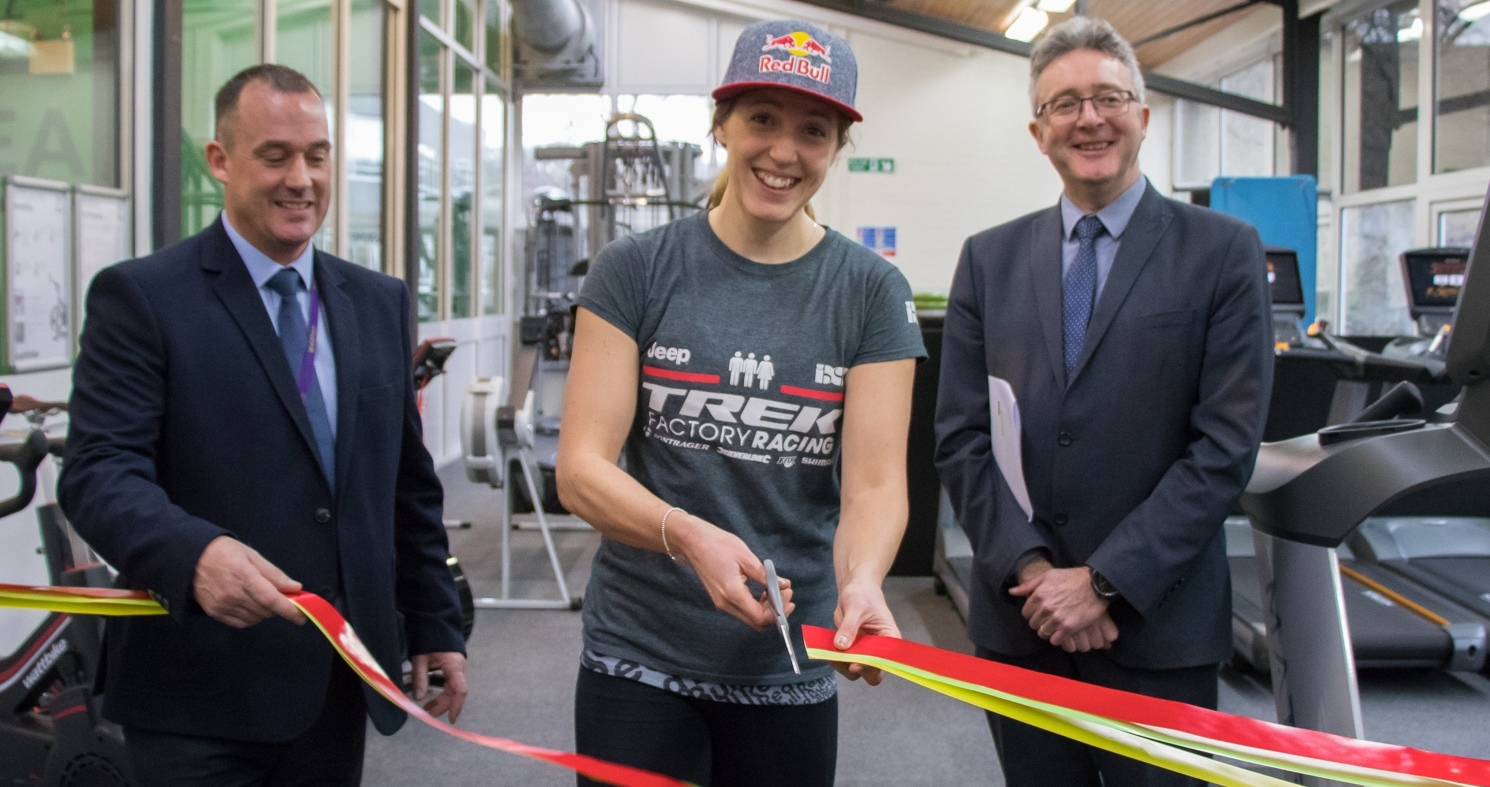 Down Hill World Champion Rachel Atherton opening the new gym facilities in the company of (left) Darren Hathaway, Sports Centre Manager, and Professor John Grattan, Acting Vice-Chancellor.
