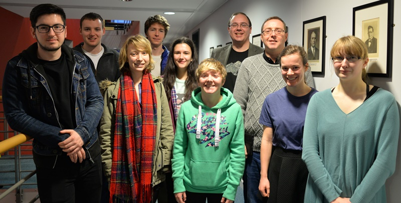 The crew that will be travelling out to Yosano, with Creative Writing lecturer Dr Val Nolan (right) and Professor Gary Rawnsley (third from right)
