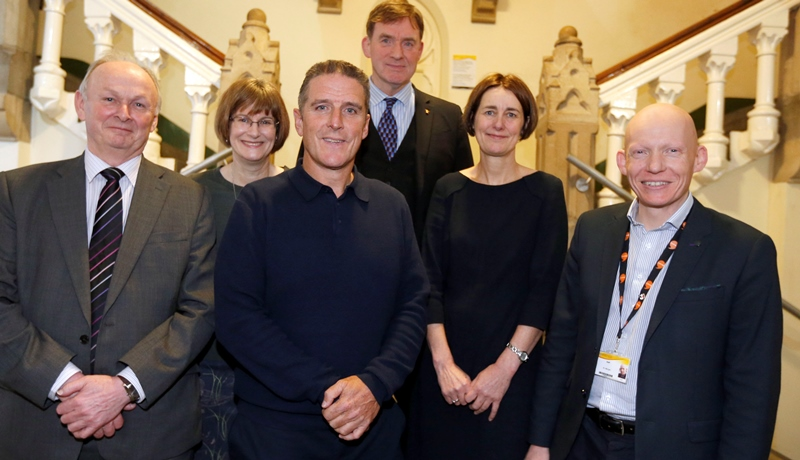 Pictured at the official opening of the Archaeopteryx exhibition in Old College with Iolo Willaims are Dr Richard Bevins, Dr Caroline Buttler and Dr David Anderson from Amgueddfa Cymru – National Museum of Wales and Louise Jagger and Dr Rhodri Llwyd Morgan from Aberystwyth University.