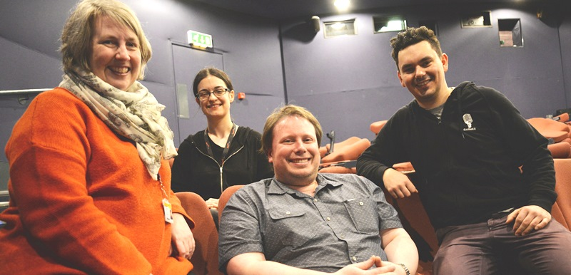 Left to right: Interim Aberystwyth Arts Centre Director Louise Amery, Cinema Projectionist and Technician Nia Edwards-Behi, Cinema Manager Gareth Bailey and Projectionist Przemyslaw Sobkowicz.
