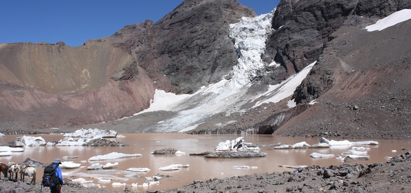 The El Morado lagoon in the Central Andes lies 76km up river from the Chilean capital, Santiago