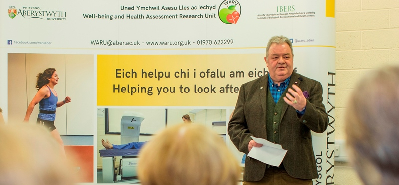 Paul James, who recently underwent major heart surgery, speaking at the launch of the Well-being and Health Assessment Research Unit (WARU) at which was launched at Aberystwyth University on Wednesday 15 March.