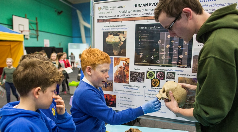 Human evolution is the theme for one of more than 30 exhibitions at the Aberystwyth University British Science Week science fair.
