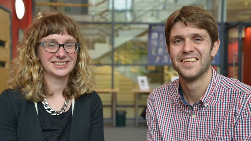 Dr Elin Royles and Dr Huw Lewis, coordinators of the Revitalise project which is funded by the Arts and Humanities Research Council.