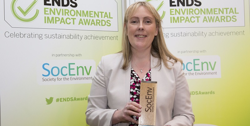 Dr Phillippa Pearson with the Society for the Environment's Environmental Professional of the Year award