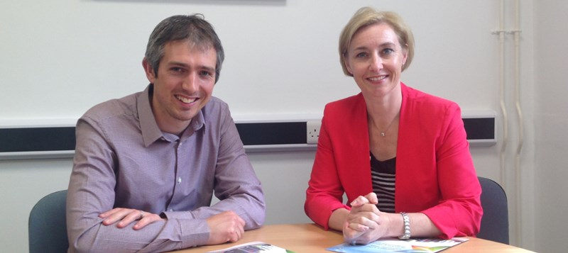 Richard Glover-Davies of Gloversure Ltd with Dr Rhian Hayward, CEO of Aberystwyth Innovation and Enterprise Campus