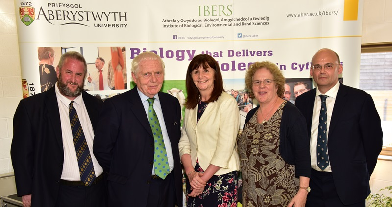 Cabinet Secretary for Environment and Rural Affairs, Lesley Griffiths AM (centre) at the launch of the new £4.2m state-of-the-art veterinary hub at Aberystwyth University. Also pictured are (left to right) Professor Jamie Newbold, Professor of Animal Sciences at IBERS; Sir Emyr Jones Parry, Chancellor of Aberystwyth University; Professor Elizabeth Treasure, Vice-Chancellor of Aberystwyth University; and Professor Mike Gooding, Director of IBERS.