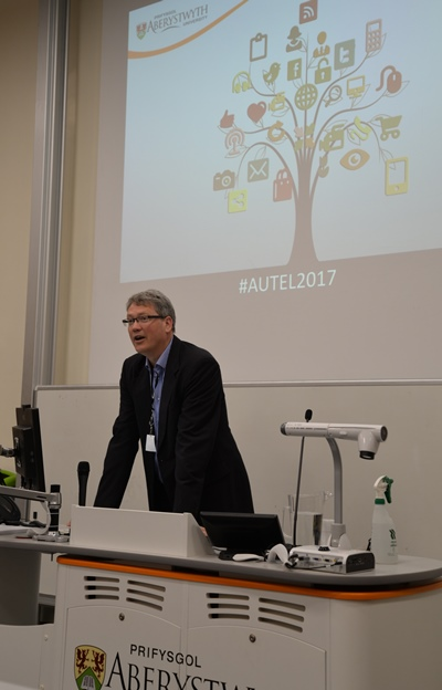 Professor Tim Woods giving the opening address at AUTEL2017
