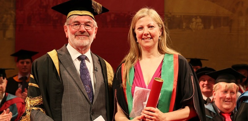 Anti-corruption campaigner Charmian Gooch presented as Fellow of Aberystwyth University in 2016, with Pro-Chancellor Dr Glyn Rowlands