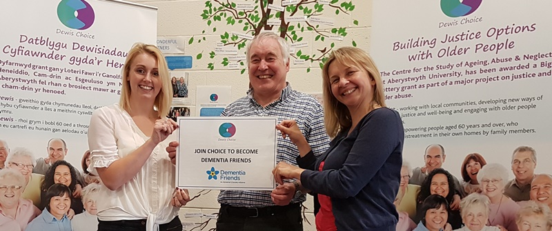 Dementia friendly; members of the Dewis Choice project (left to right) Rebecca Zerk, Alan Clarke and Sarah Wydall.