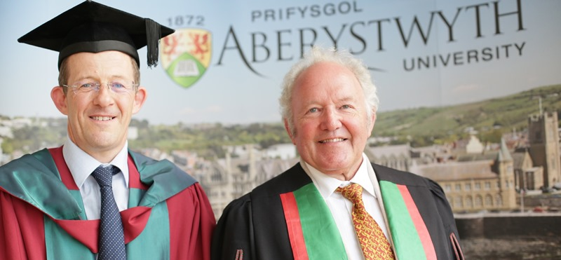 Aberystwyth University Honorary Fellow Heini Gruffudd (right) and Dr Bleddyn Huws, Senior Lecturer in the Department of Welsh and Celtic Studies.