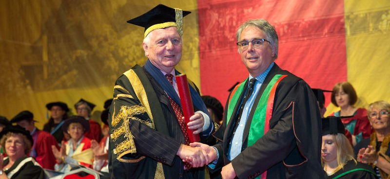 Professor Martin Conway being presented as Honorary Fellow by Sir Emyr Jones Parry, Chancellor of Aberystwyth University.
