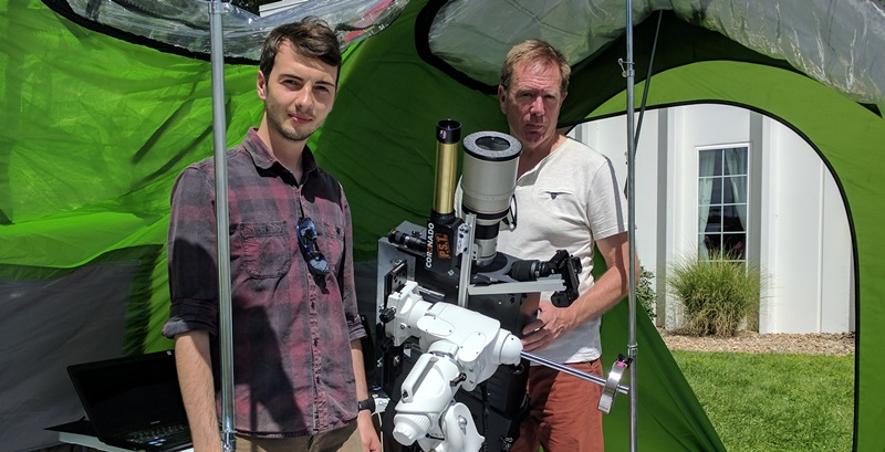 Joe Hutton (Left) and Steve Fearn from the Department of Physics during last minute preparations in Boulder Colorado for the total eclipse on Monday 21 August