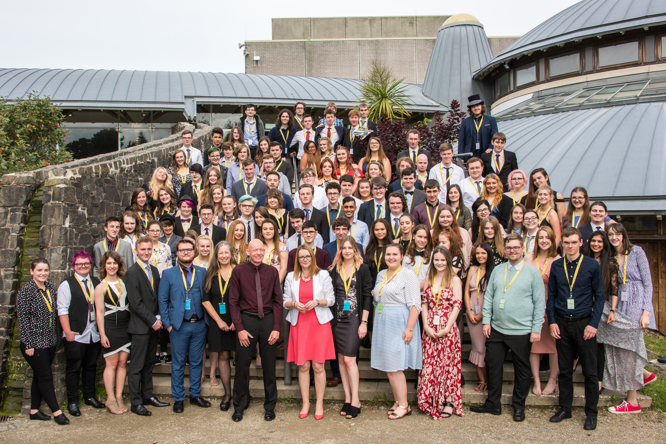Kirsty Williams AM, Welsh Government Cabinet Secretary for Education with Aberystwyth Summer University Students.