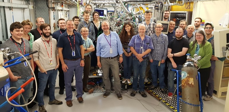 Professor Andrew Evans (front row, third from left) at the opening of the new VERSOX facility at Diamond Light Source.