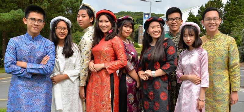 Students from Nguyen Tan Thanh High School in Hanoi, Vietnam, who spent three weeks at Aberystwyth University's International English Centre in the summer of 2017.