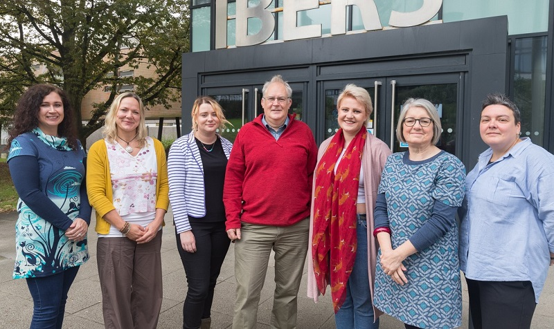 (L-R) Professor Jo Hamilton, Director of Student Experience at IBERS; Samantha Glennie, Hywel Dda University Health Board; Ian Keirle, lecturer and module coordinator at IBERS; Molly Longden, Wellbeing Officer at Aberystwyth University Students' Union; Caryl Davies, Director of Student Support Services and Lou Hardinge, Assistant Director of Student Support Services at Aberystwyth University.