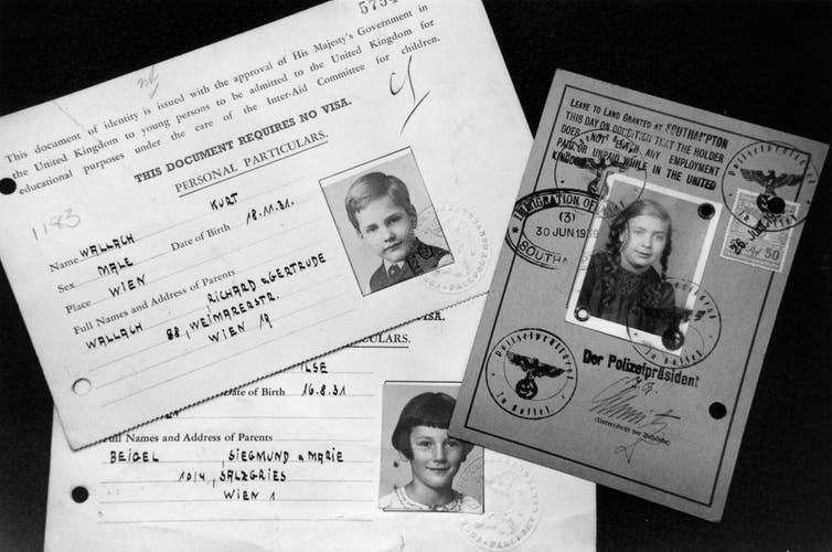 Kindertransport documents for three children who travelled from Austria to the UK in 1939 (Jewish Chronicle Archive/Heritage-Images)