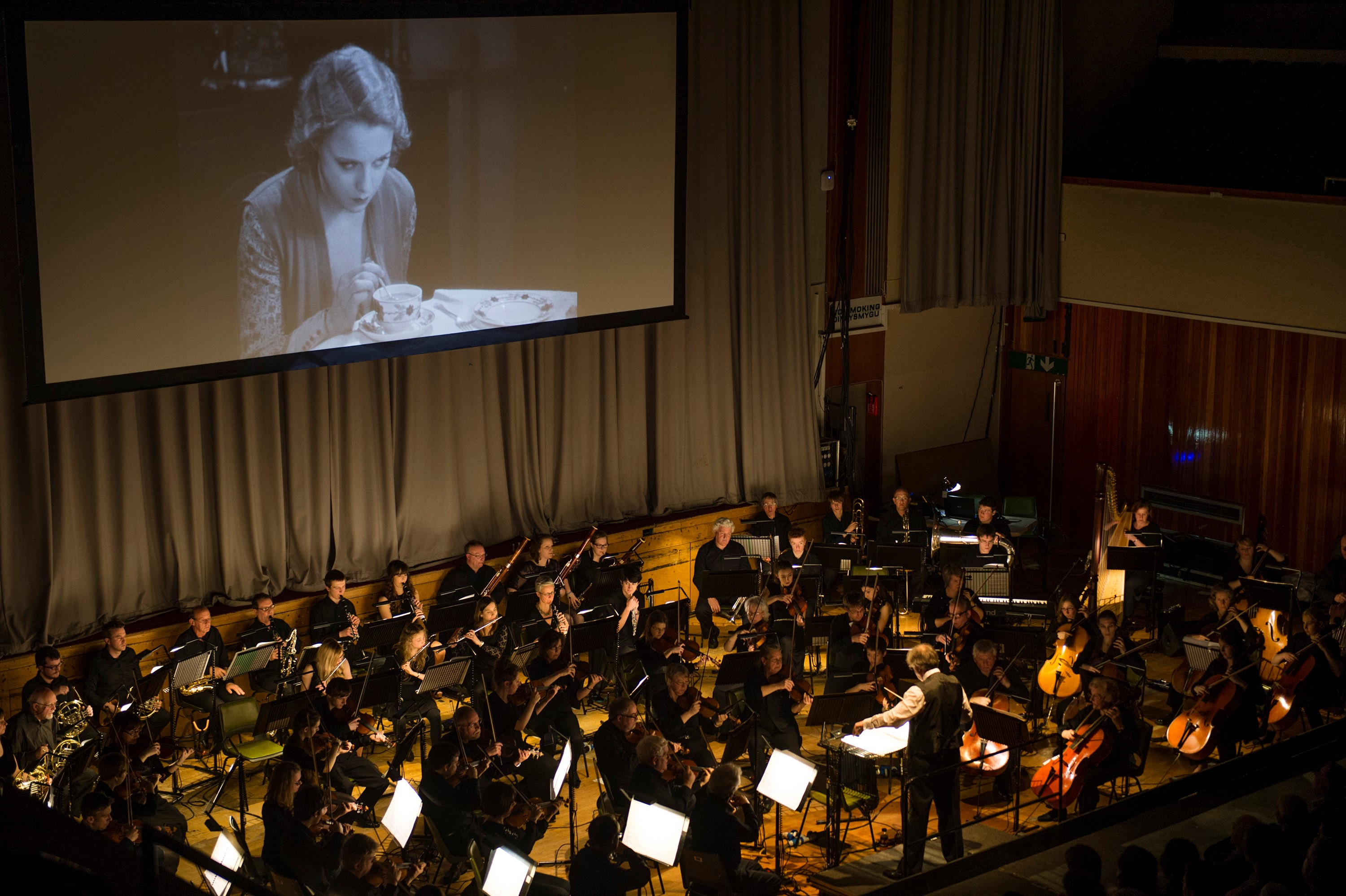 Philomusica performing Neil's score to accompany a screening of Hitchcock's thriller Blackmail at Aberystwyth Arts Centre in 2014. Photo credit: Keith Morris