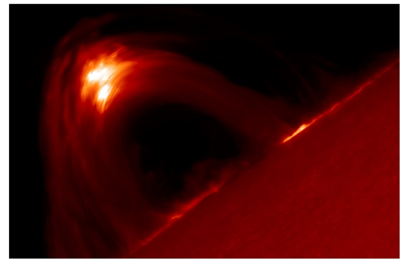 An image taken by the Swedish Solar Telescope of the coronal magnetic loops during the strong solar flare on September 10, 2017. The hight of the loop arcade is about 25,000km, twice the diameter of Earth.