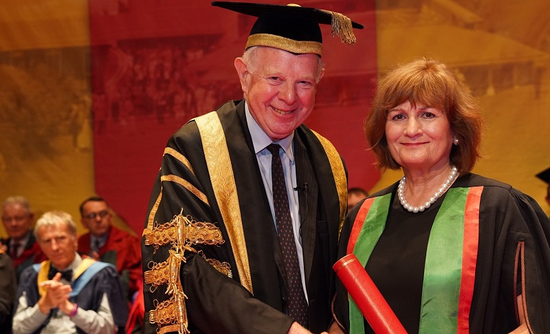 Aberystwyth University President Lord Thomas of Cwmgiedd with Honorary Fellow and polio campaigner Judith Diment