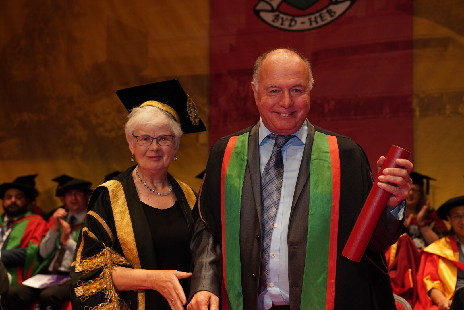 Pro Chancellor Gwerfyl Pierce Jones with Honorary Fellow Alan Phillips