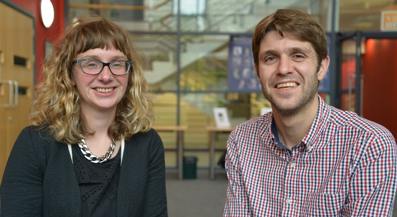 Dr Elin Royles and Dr Huw Lewis, two of the authors of 'Promoting regional or minority languages in a global age'.