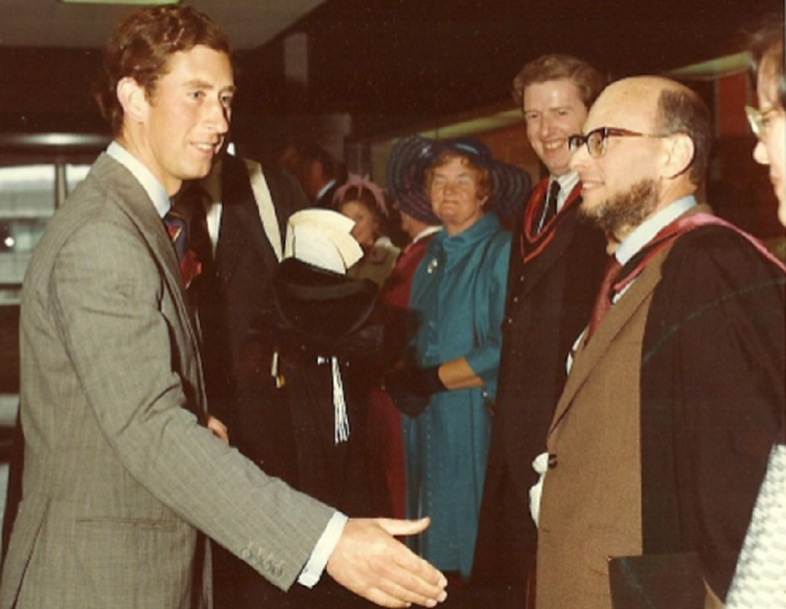 William (Wolfgang) Dieneman (right) former Aberystwyth University Librarian with Prince Charles at the official opening of Hugh Owen Library.