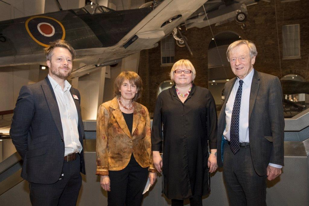 Left to right: James Bulgin, content leader for the IWM Holocaust Galleries, Barbara Winton, Daughter of Kindertransport helper Sir Nicholas Winton, Dr Andrea Hammel and Lord Alf Dubs at the Imperial War Museum London, in March 2018.