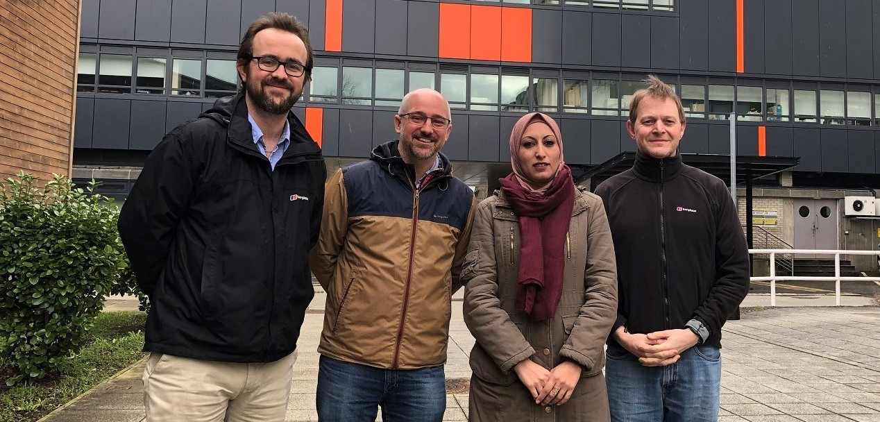Members of the project. Left to right: Dr Hywel Griffiths, Dr Jonathan Bridge, Dr Esra'a Tarawneh and Professor Stephen Tooth