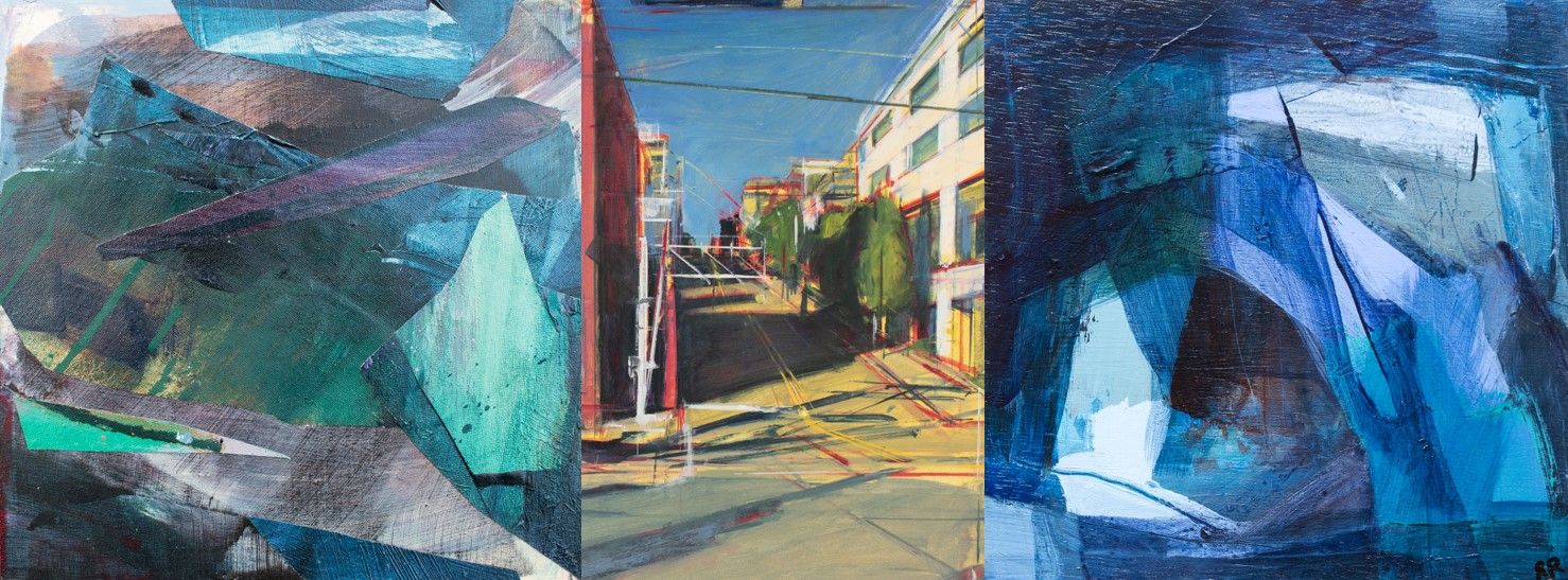 Artworks from the exhibition - Nant-y-moch 3 by Alicia Webster, Seattle Downtown by Tom Voyce, and Blues by Rachel Rea