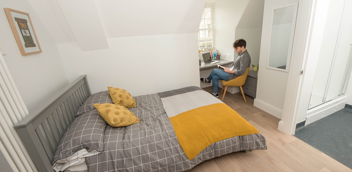 One of the new en-suite student rooms in Pantycelyn which is due to open in September 2020