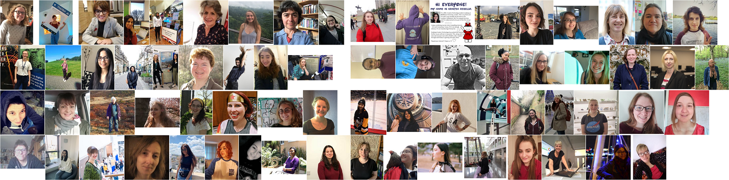 A selection of conference attendees at the virtual BCS Lovelace Colloquium 2020