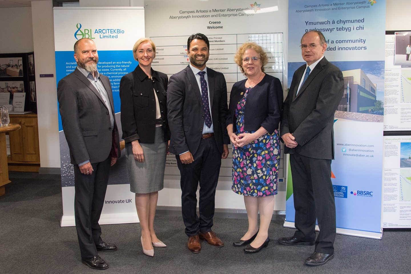 From the left: Dr David Bryant BEACON, Dr Rhian Hayward Aber Innovation, Dr Ahbishek Somani, Founder ARCITEKBIO, Professor Elizabeth Treasure Vice Chancellor Aberystwyth University, and Dr Joe Gallagher BEACON, at the AberInnovation Office.